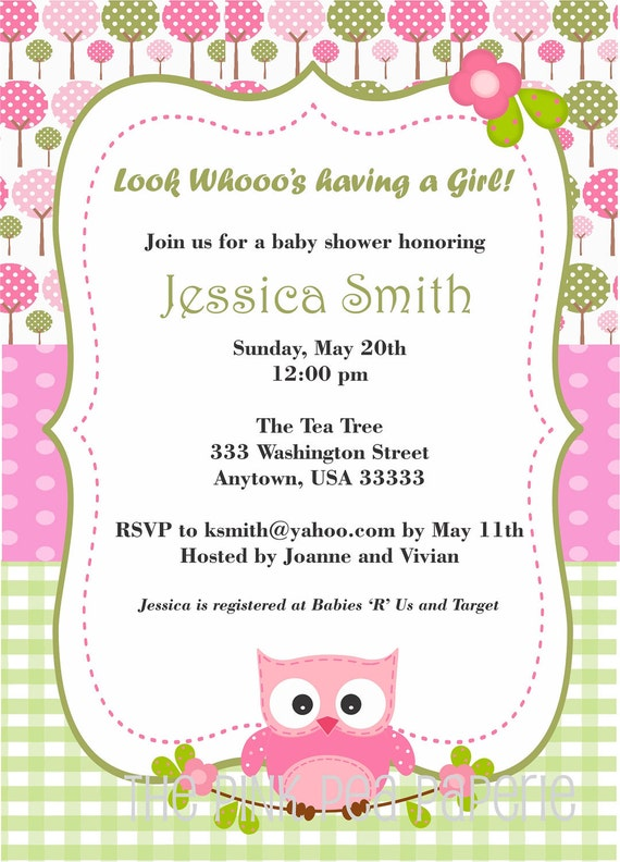 Items similar to owl baby shower invitation with pink and for Etsy owl wedding invitations