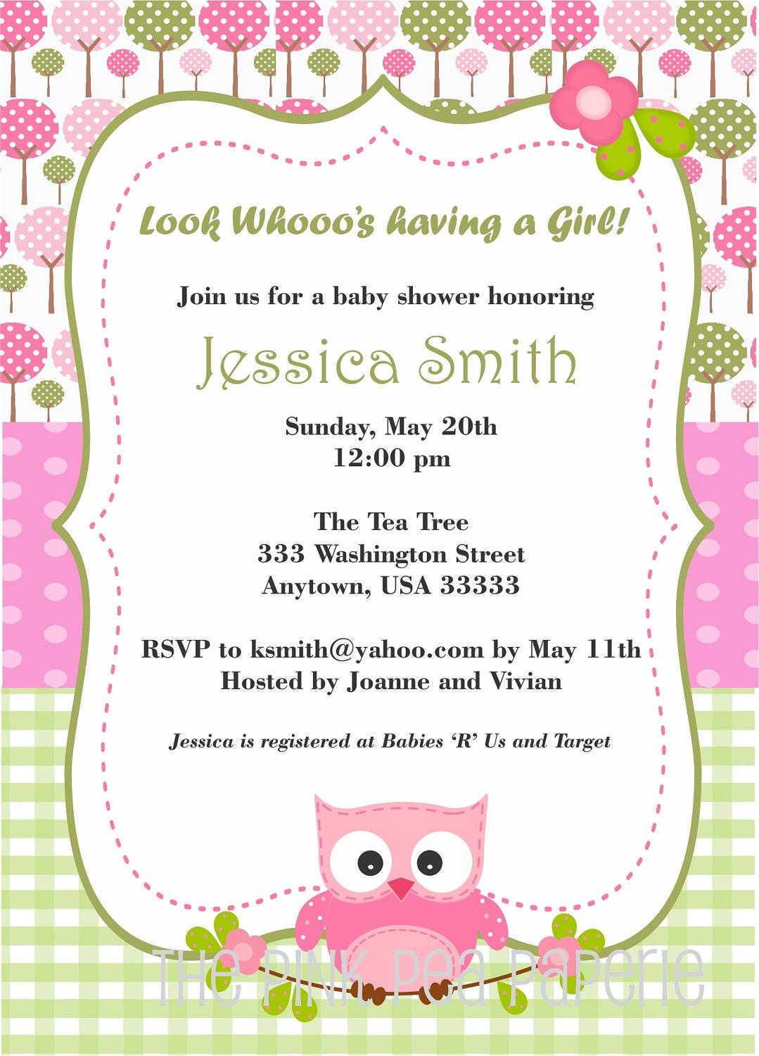 owl baby shower invitation with pink and green by pinkpeapaperie