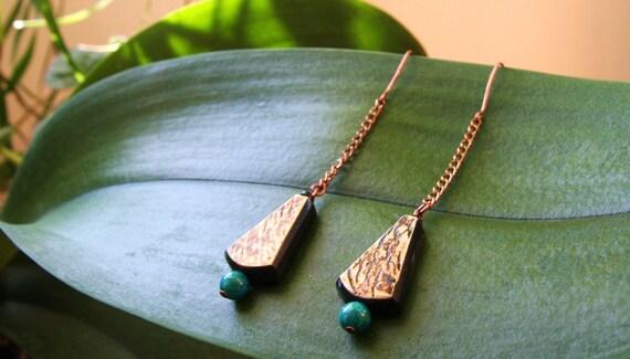 SALE Earthbead Dangle bonebead and green jasper stone african tribal copper metal chain earrings