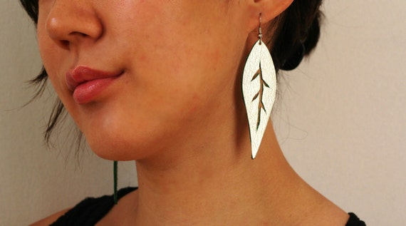 LAST ONE SALE Silver Greenleaf handcut leaf upcycled leather earrings