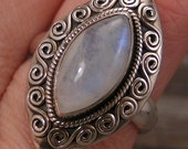 Sterling Silver 925 Chunky Rainbow Moonstone Ring sz 9.5