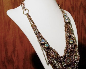 Copper Rhinestone Statement Necklace