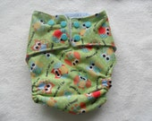 Owl pocket diaper with cotton velour inner and snaps fits15-28lbs