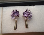 kanzashi flowers purple sakura both for bjd and human barrette a pair