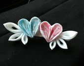 kanzashi flowers pink and blue heart with white wings barrette