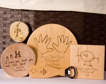 Personalized Sign Kids art print wooden sign personalized christmas gift grandparent gift baby's first handprints Engraved gifts