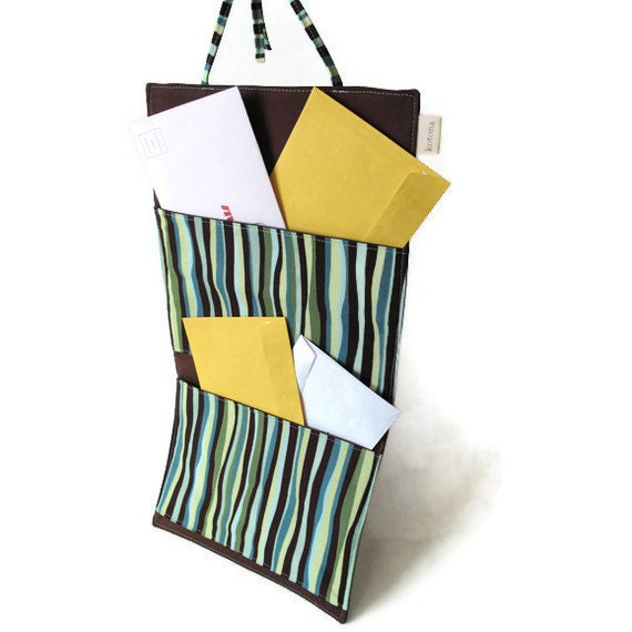 Hanging Organizer, Home Office organizer Teal and Chocolate Fabric