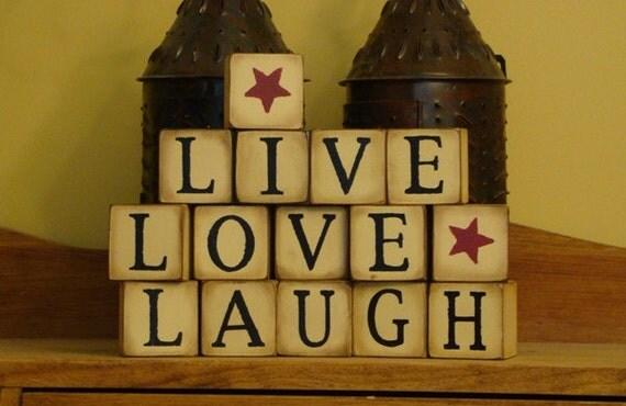 LIVE LOVE LAUGH decorative primitive blocks