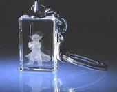"Yoda Jedi Master Star Wars Key Chain Key Ring. 3D Figurine. Laser Etch Crystal ( Size 1,2"" x 0,8"" x 0,4"" ). New Unique"