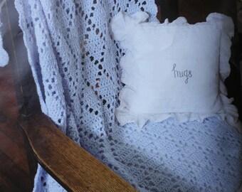 Crochet blue baby boy diamond blanket