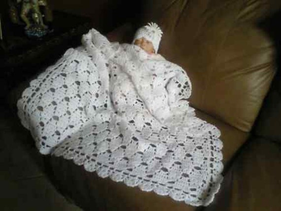 Free Crochet Patterns Christening Blankets : White crochet christening baptism baby blanket boy or girl