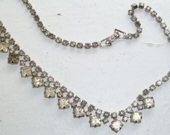 Rhinestone Choker Necklace, Shabby Chic, Retro, Jewelry