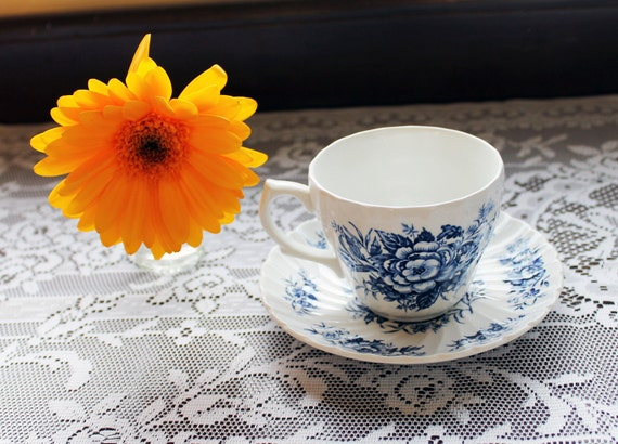 Vintage Tea Cup - Blue Floral Print Beacon Hill by British Anchor China D1