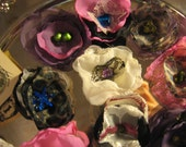 Sew On Appliques - Hand Made Vintage Satin and Lace Fabric Flowers - 15 Pieces, Multiple Colors
