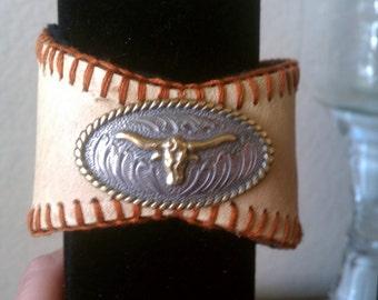 Texas Longhorn Baseball Cuff Bracelet - Hook em Horns