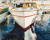 """Vintage Wooden Boat Fine Art Print, Jo-Neal Boic - Etsy, from Original Watercolor - 8x10 matted, """"Miss Molly"""""""