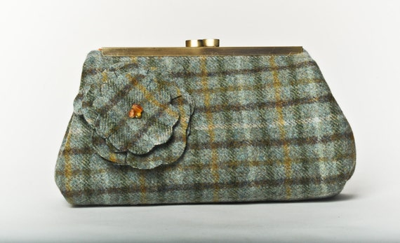 Sale 20% Off - Medium Clutch Purse - Flower on Green and Brown Wool Plaid with Antique Brass Frame.
