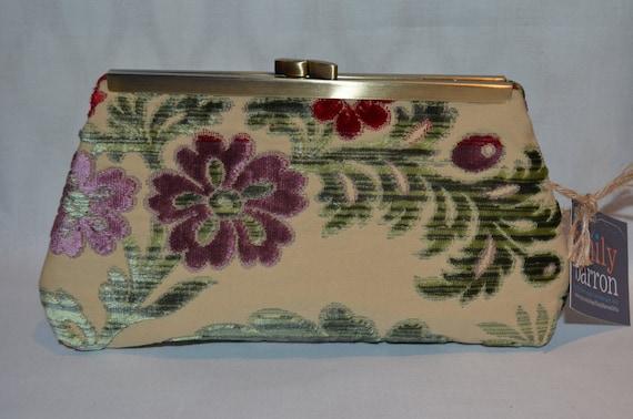 Medium Clutch Purse - Silk Cut Velvet Floral in Rich Jewel Tones with Antique Brass Frame.