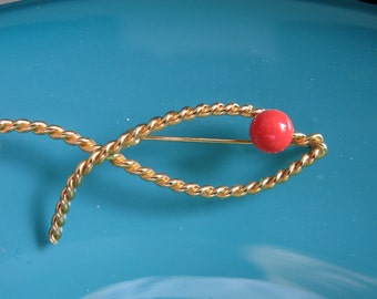 Vintage napier jewelry, fish jewelry, coral brooch pin, collectible signed stamped brooches