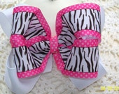 Zebra Pink and White Double Boutique Bow