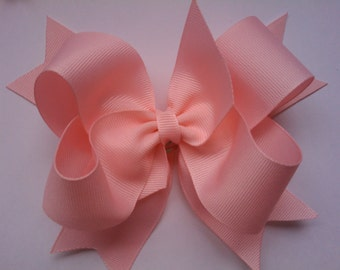 Double Boutique Hair Bow....Everyday Hair Bow...Solid color Hair Bow...Pink Hair Bow.....Toddler Hair Bow