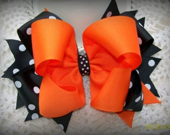 Orange and Black with white polka dot Spikey Boutique Bow