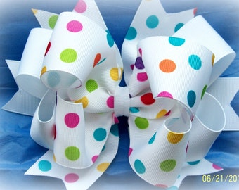 Hair Bow....Candy Dots Triple Layer Boutique Bow