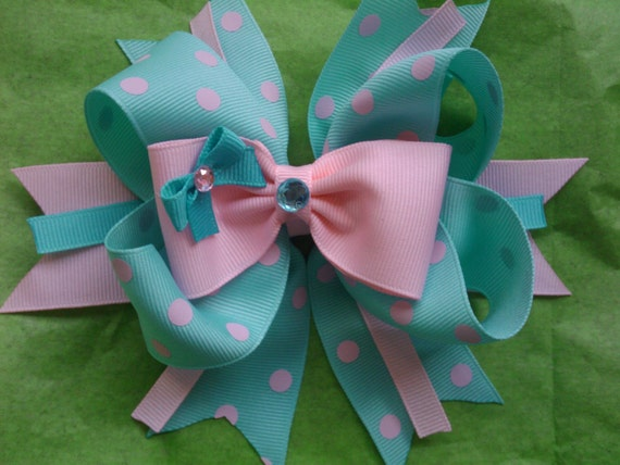 Aqua and pink polka dot boutique hairbow