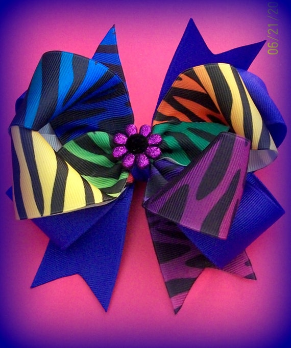 Boutique Hair Bow......Purple and Neon Rainbow Zebra Triple Layer Bow