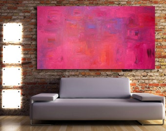 "Sapphire Ruby - Original Modern Abstract Contemporary Art Painting - Size: 48 x 30"" Acrylic on Canvas by A.J. Wesolek"