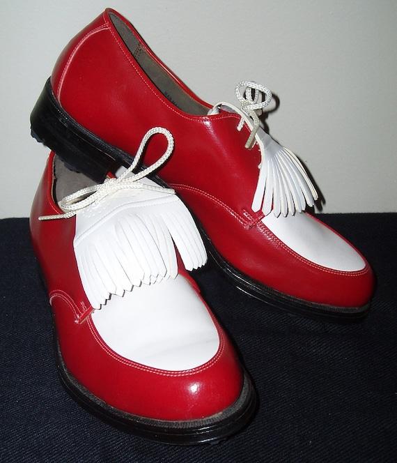 "Vintage 1960's Red & White ""Ben Hogan"" Ladies Corfam Golf Shoes 7B"