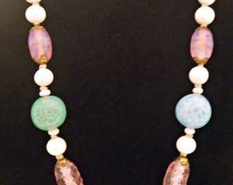 1940's Venetian Milk and Art Glass Necklace in Spring Colors