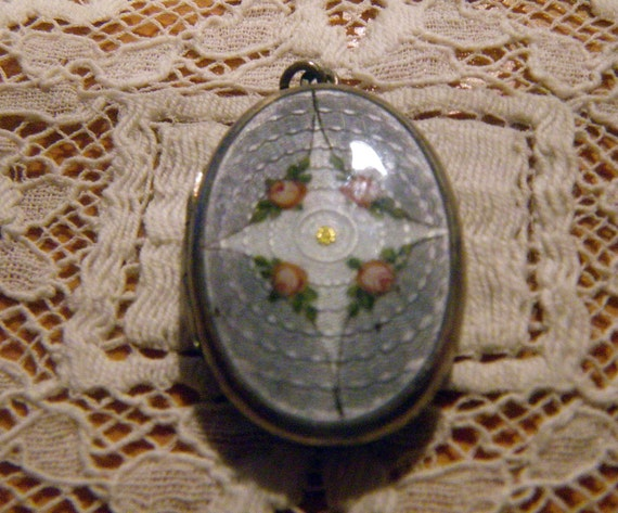 Edwardian Sterling Silver Guilloche Enamel Picture Locket w/ Roses