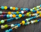Czech Glass Round Druk Beads, 2 Multi-colored strands, 4mm