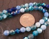 1/2 Off - Was 6.20 - Blue Fire Polished Czech Glass Mix - 8mm Faceted Rounds