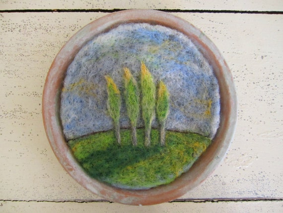 Felt Wall Hanging, Wool Artwork, Needle Felted Miniature Landscape with Trees