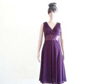 Purple Evening Dress.Party Dress.Purple Bridesmaid Dress.Sleeveless Dress.