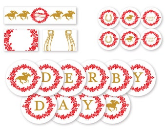 PRINTABLE PDF set -- Kentucky Derby party decorations