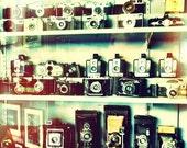 Vintage Cameras in Shop Window, home decor, wall art, 10x10 fine art photo print