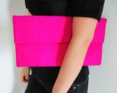 Oversize Neon Pink Fold Over Python Snakeskin Leather Clutch Bag