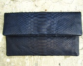 Dark Blue Fold Over Python Snakeskin Leather Clutch