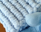 Baby Blue handmade, snuggly & cozy knitted blanket.  Ideal gift for newborn.