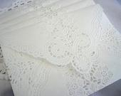 Vintage Doily Envelopes, Paper Lace, Handmade, White, Wedding Invitation Liner, Tea, Shabby Chic, 10 Piece Set