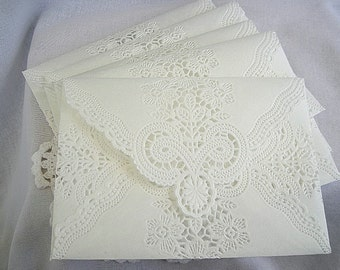 Doily Lace Envelopes Wedding Invitation Envelope Handmade Off White Doily Paper Lace Envelope Wedding Invitation Liner White Lace Wedding