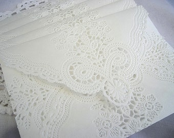 Doily Lace Envelopes Wedding Invitation Envelope Handmade Off White Doily Paper Lace Envelope Wedding Invitation Liner White Lace Wedding