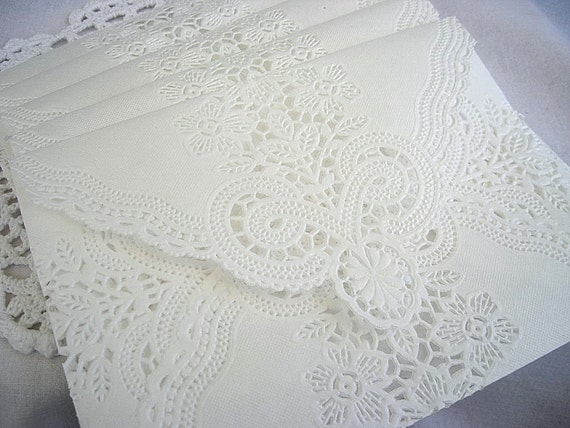 Doily Paper Lace Envelopes, Wedding, Vintage Inspired, Handmade, White, Invitation Liners Tea, Shabby Chic, 5 Piece Set
