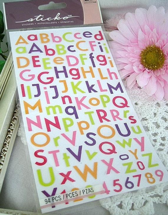Alphabet Stickers, Sticko,  94 Pieces
