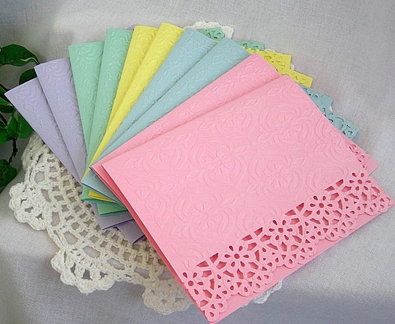 Vintage Paper Lace Embossed Note Cards, Birthday, Friendship, Tea, Pastel,  Shabby Chic 10 Card Set with Embossed Envelopes
