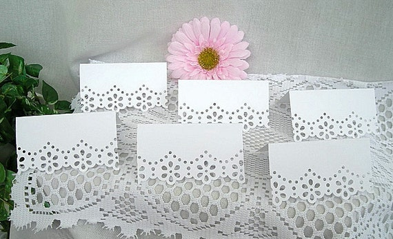 Doily Paper Lace, Wedding Table Cards, Name Card Handmade, Dainty, Feminine, Shabby Chic, 50 Piece Set