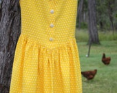 Little Girl Vintage Bright Yellow and White Love Hearts Summer Tie Back Dress